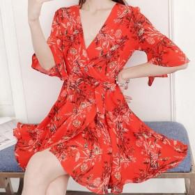 韩版连衣裙子高腰连衣裙甜美女T恤女短袖女鞋凉鞋女