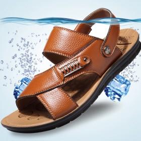 【限量抢购】头层牛皮男士凉鞋真皮两用潮拖鞋沙滩鞋