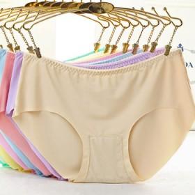4条装 无痕内裤女士冰丝一片式性感中腰大码透气纯色