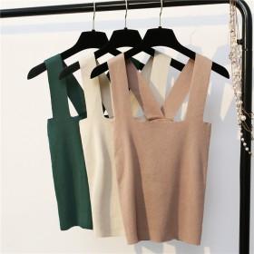 针织交叉带背心女纯色韩版简约外穿夏季短款吊带打底百