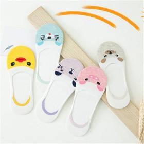 【5双装】女士夏季女袜子女防滑纯棉袜