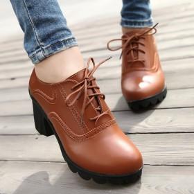 【牛皮只亏一次】新款真皮中跟休闲女鞋系带休闲单鞋潮