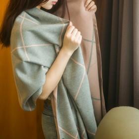 欧美格子羊绒围巾空调披肩