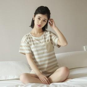 纯棉条纹短袖睡衣女套装