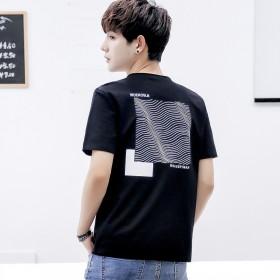 夏季男土圆领短袖t恤日系潮流个性印花上衣体恤学生潮