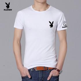 花花公子短袖t恤男夏季修身纯色打底衫韩版圆领半袖衫