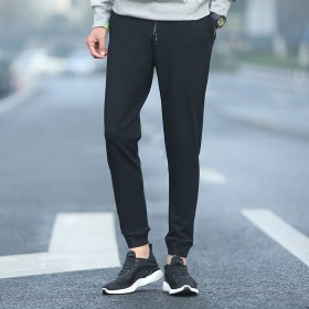 精品男装男休闲裤 韩版男式休闲裤纯色卫裤薄款小脚裤