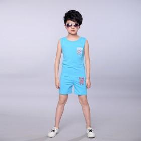 运动儿童套装2017新款中大童宝宝T恤短裤男童套装