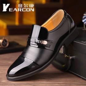 意爾康真皮男士一腳蹬皮鞋商務正裝男鞋內增高鞋婚鞋
