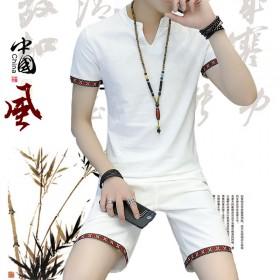 男士套装夏季2017新款短袖韩版潮流棉麻两件套修身