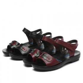 夏季女士沙滩鞋防滑软底妈妈鞋凉鞋奶奶平跟平底休闲中