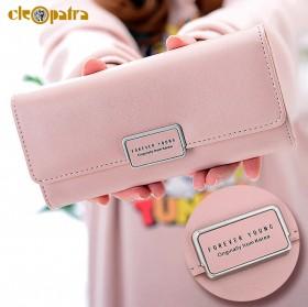 钱包女长款韩版时尚简约搭扣纯色零钱包卡位钱夹