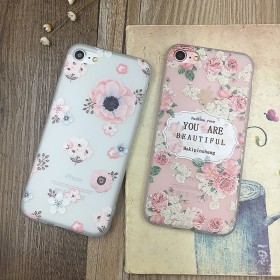 浮雕清新花卉苹果5s/6s/7 plus手机壳
