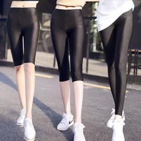 夏薄款高弹舒适光泽打底裤大码显瘦