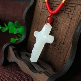 天然白玉十字架耶稣受难吊坠男女款项链