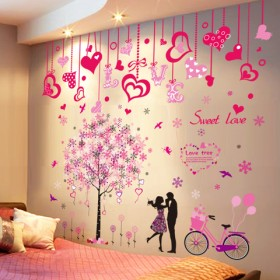 浪漫温馨卧室床头自粘装饰品墙纸壁纸房间婚房背景墙上