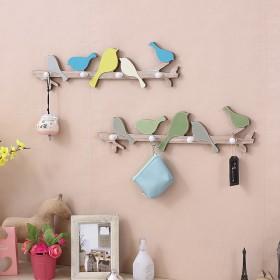 美式乡村zakka挂钩创意小鸟木质挂衣架墙面钥匙架