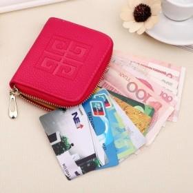 韩版女士短款卡包手拿包小零钱包女式荔枝纹拉链卡包女