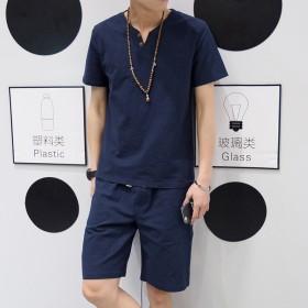 棉麻套装男夏季休闲上衣短袖亚麻两件套薄款五分短裤大