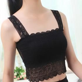 夏季蝴蝶背修身文胸背心 女士抹胸纯色性感蕾丝裹胸