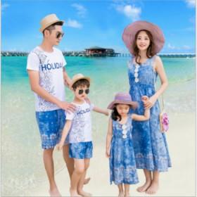 新款E家人品牌亲子装一家三四口装沙滩装海边3件