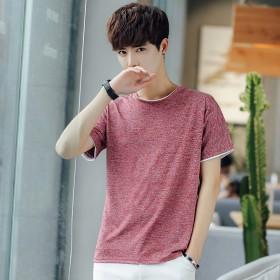 纯色t恤男短袖修身圆领青少年上衣日系休闲体恤衣服学