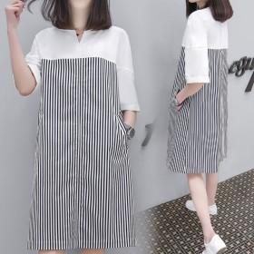 纯棉短袖学生长裙女夏季韩版清新女士夏天