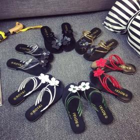 夏季花朵凉拖鞋平底平跟拖鞋学生人字拖套趾