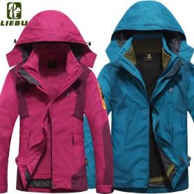 冬季情侣款户外冲锋衣男女防水透气三合一两件套四季