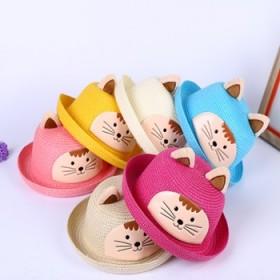 夏季儿童可爱卡通沙滩草帽