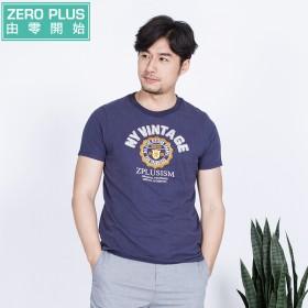 夏季新款 贴布印花短袖T恤男韩版圆领修身纯棉体恤