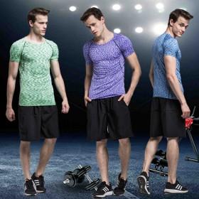 健身服男紧身短袖套装速干衣夏跑步运动套装男