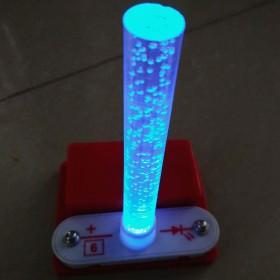 DIY益智七彩变色光纤柱拼装电子积木配电池盒