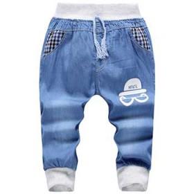 夏季新款中小童男童卡通薄牛仔哈伦裤 儿童夏季七分裤