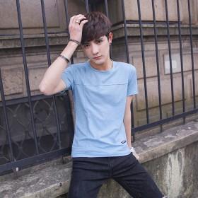 买一送一 2件装T恤短袖夏季竹节棉白色体恤衫弹力