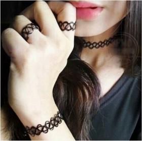 日韩版新款个性编织黑色网项链戒指手链锁骨链