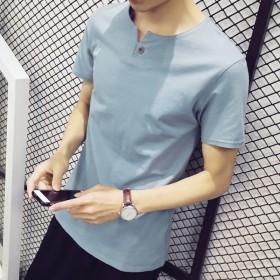 夏天t恤男短袖日系休闲v领修身简约个性纯色上衣体恤