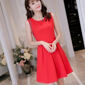 夏季新款连衣裙无袖韩版圆领修身显瘦女甜美时尚针织连