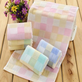 【5条】纯棉彩格纱布毛巾童巾5条装