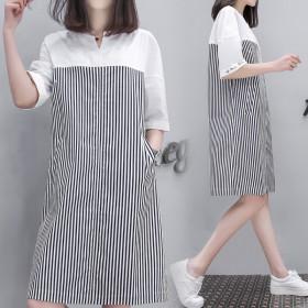 2017春夏新款韩版短袖套头条纹连衣裙