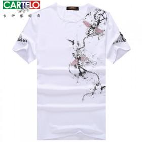 卡帝乐鳄鱼丝光棉短袖T恤上衣男士2017夏天新款