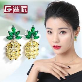 新款菠萝耳钉女时尚耳环女潮气质性感百搭耳饰个性