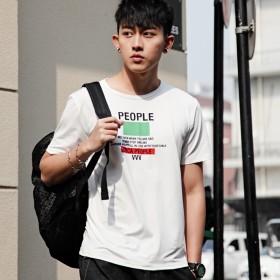 夏季韩版修身男印花短袖t恤圆领休闲体恤潮流学生装
