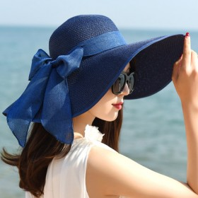 夏季防晒帽遮阳帽沙滩帽 可折叠 送防风绳