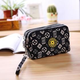 女士韩版三层拉链手拿包零钱包时尚帆布包化妆钥匙可装