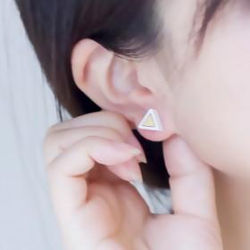 轩唐日韩几何三角形防过敏木头耳钉时尚气质甜美个性耳