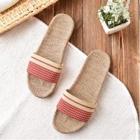 夏天亚麻拖鞋女情侣家居麻拖防滑地板防水无声亚麻鞋