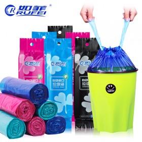 如菲5卷装自动收口垃圾袋家用手提式中号包邮厨房穿绳