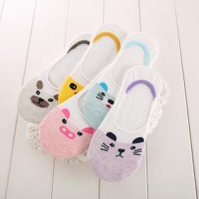 【5双包邮】夏季薄款纯棉船袜女士硅胶浅口防滑短袜