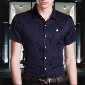 花花公子男士短袖衬衫